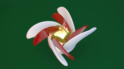 Beautiful flower of ceramics on the green. 3D illustration