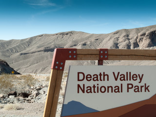Sign board at the entrance of Death Valley National Park, Califo
