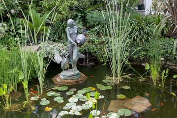 Fountain in a greenhouse, Allan Gardens, Toronto, Ontario, Canad