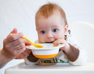 Funny baby dinner