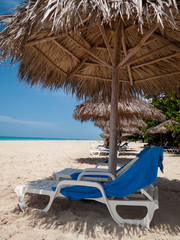 Reclining chairs on the beach, Havana, Cuba