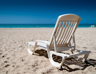 Reclining chair on the beach, Havana, Cuba