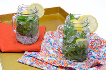 Refreshing chilled drinks lemon and mint
