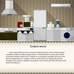 Flat illustration of kitchen