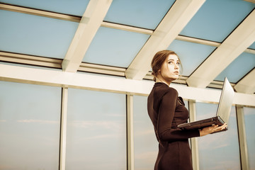 young business lady with computer