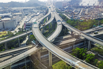 aerial view of the city overpass in early morning