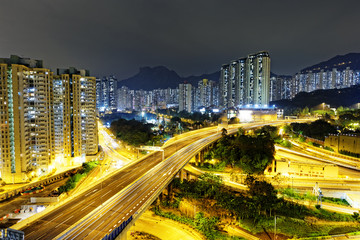 aerial view of the city overpass at night, HongKong