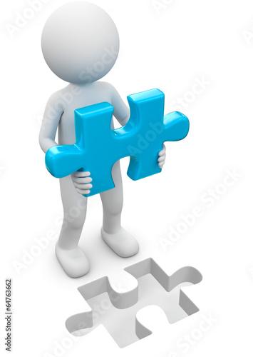 3d Männchen mit passendem Puzzleteil