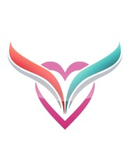 Love heart icon wings logo flying symbol date