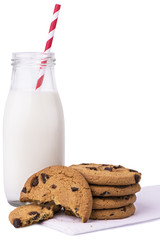 Glass of milk and cookies