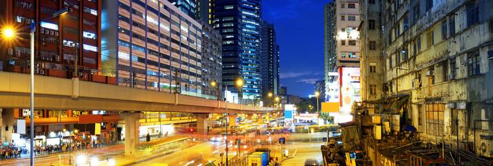 HongKong downtown busy traffic night