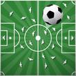 Football Ball on Green Playground Background