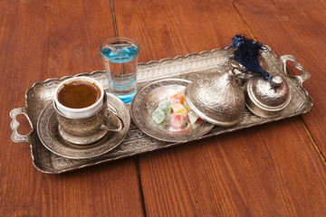 Turkish coffee served with traditional Ottoman style