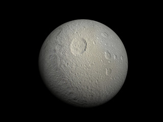 3D-rendering of the Saturn Moon Tethys, high resolution