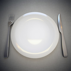 Empty plate, fork and knife.