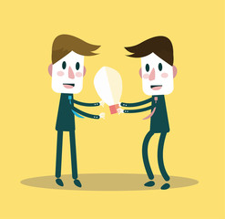 Businessman giving ideas bulb to his partner.