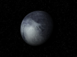 3D rendering of the  planet Pluto on a starry background, high r