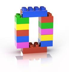 children`s brick toy font letter O