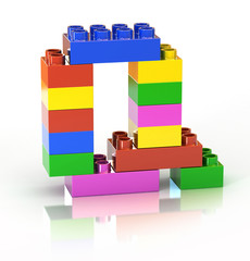 children`s brick toy font letter Q