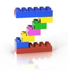 children`s brick toy font letter Z
