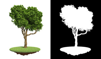 Isolated Green Tree on Grass with Detail Raster Mask.