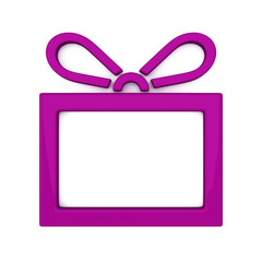 Violet gift box icon and frame, 3d