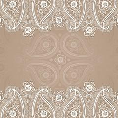 Paisley  border lace design template