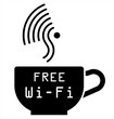 Monochrome Internet cafe free WiFi symbol