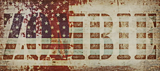 Concept zombie and old grunge USA flag background
