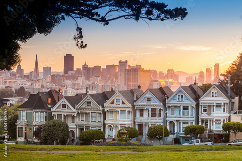Famous view of San Francisco at Alamo Square