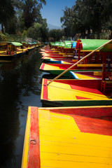 Boats in a lake, Xochimilco, Mexico City, Mexico