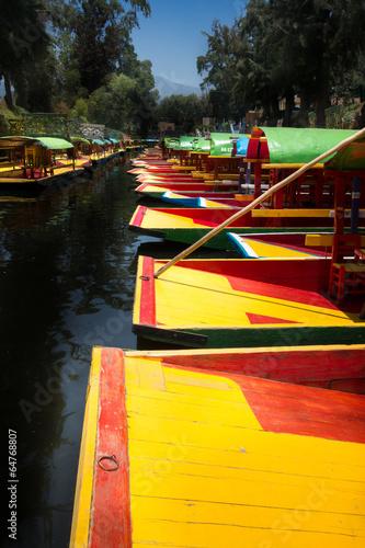 Boats in a lake, Xochimilco, Mexico City, Mexico