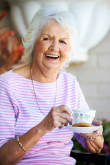 Laughing grandmother