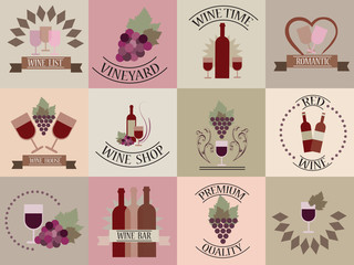 Set of icons for wine, restaurants and wine shops