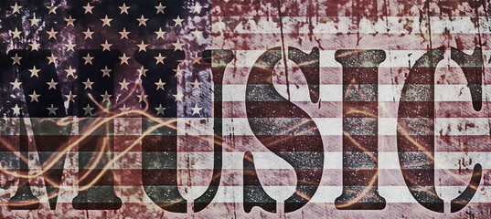 concepts music and old grunge USA flag background