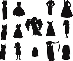 womans fashion set in silhouette