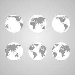 Set of globes, World Map Vector