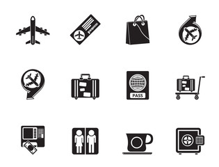 Silhouette airport, travel and transportation icons 1