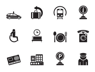 Silhouette airport, travel and transportation icons 2