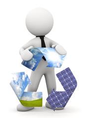 omino bianco con simbolo ciclo eco-energia