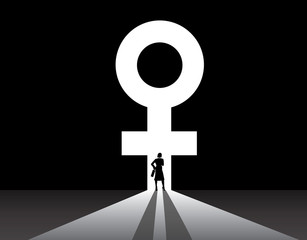 Business woman silhouette stand front of big female symbol door