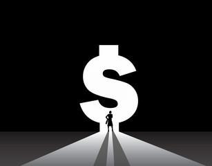 Business woman silhouette standing front dollar money bank door