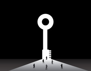 Business men and women standing front of big success key door