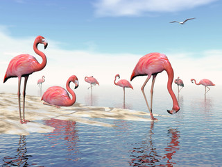 Flock of pink flamingos - 3D render