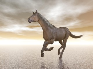 Horse galloping - 3D render