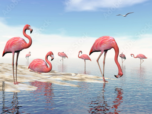Flock of pink flamingos - 3D render © Elenarts