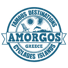 Amorgos, famous destinations stamp