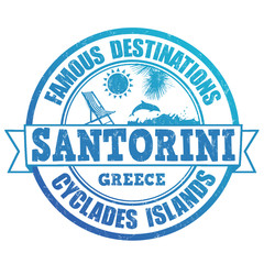 Santorini, famous destinations stamp