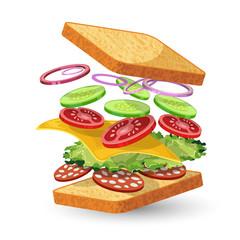 Salami sandwich ingredients emblem