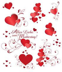 Set mit Herzen für Muttertag in Rot